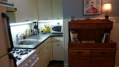 Compact kitchen in Anna's Retreat has everything you need for basic meal preparation.