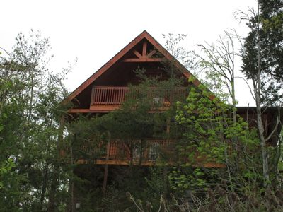 Photo for BRAND NEW!!! 5 bed 4 bath cabin with wonderful views. Hot Tub, LUXURY RATED