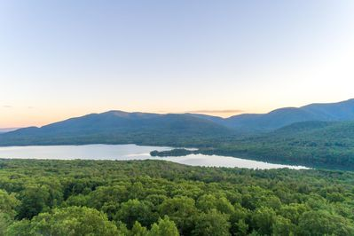 Aerial view of the Ashokan Reservoir + Catskill Mountains from above the house