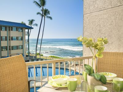 Photo for Ocean View King Bedroom AC throughout Pool Spa free WiFi Remodel Kona Reef E-22