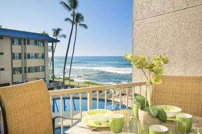 View from your lanai; lanai high table and chairs