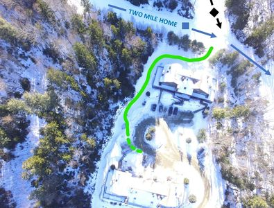 """Ski Access couldn't be easier - a short path takes you to """"Two Mile Home,"""" an easy blue trail!"""