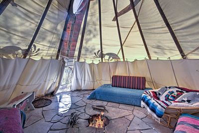 This Kokopelli teepee acts as an additional living space.