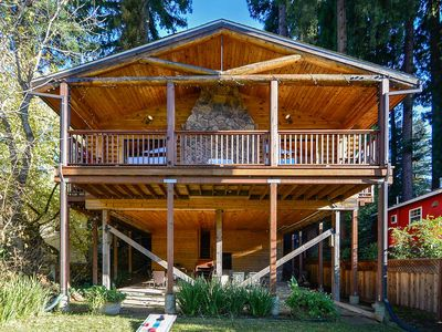 Photo for Monte Rio Log Cabin on the River! Hot Tub and Fireplace!