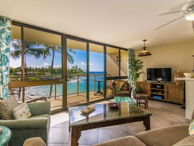 Photo for BEAUTIFUL, RELAXING POIPU CONDO ON OCEAN FRONT.  SUN, SURF, BEACH.  NEW A/C