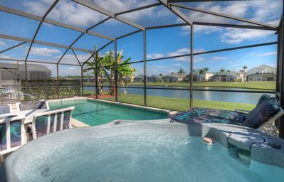 Photo for Free fishing. Villa with lake view, private pool and hot tub. Near Disney