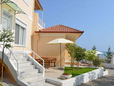 Photo for Seafront Holiday Home Dafni 2 on a Long Sandy Beach, GeoMare, Ground Floor