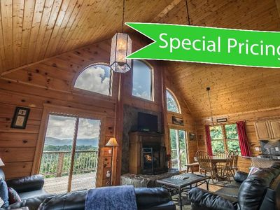 Photo for 3 Peaks Lodge - SUMMER SPECIAL PRICES! - Charming Cabin with great views, hot tub and pool table!