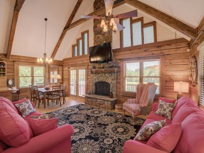 Photo for Restin Quarters: Luxurious Equestrian Log Cabin 5 MINUTES to TIEC