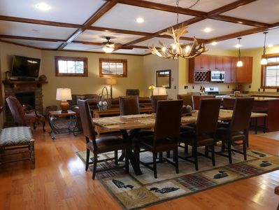 Bright and open floor plan, granite kitchen. Our walnut dining table seats 12.