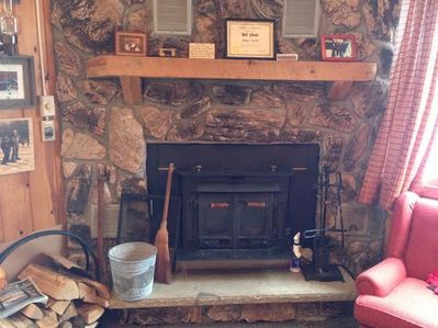 Wood-burning fireplace with complimentary firewood