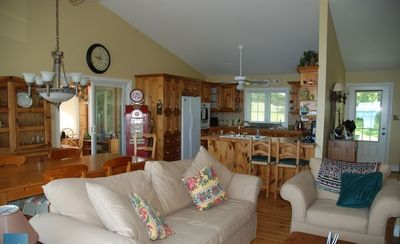 View of open concept living room/dining room/kitchen