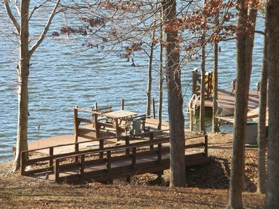 Waterfront area-shaded picnic table