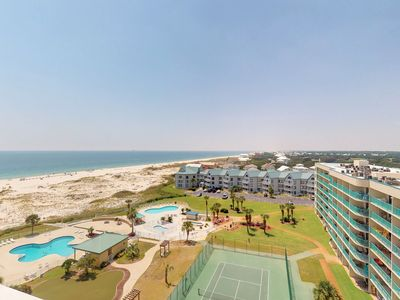 Photo for NEW LISTING! Modern condo w/ Gulf view, shared pools & hot tub, beach access