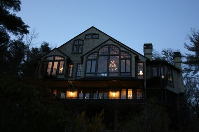 Rear view of La Chatelaine at dusk