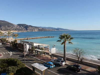 Photo for Apartment seafront panoramic view terrace garage wifi near beach