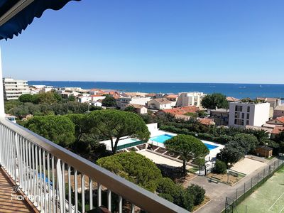 Photo for Superb studio Carnon beach panoramic sea view terrace with pool and tennis