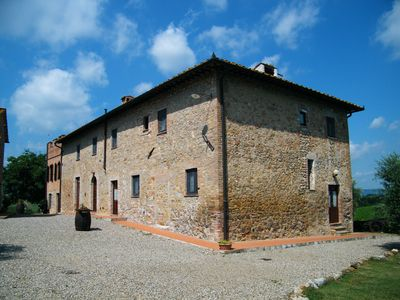 Montegonfoli main buiding. Six is on the first floor, with view on the court and