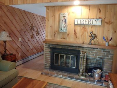 Our wood burning fireplace gives a cozy ambiance to our living room!