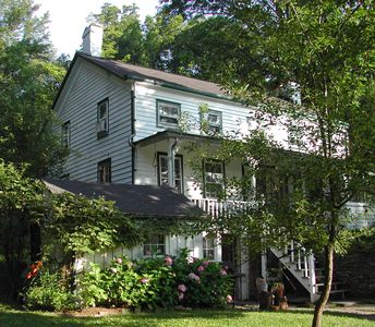 Cozy, quiet, stream-side 1850s farmhouse with meadow, garden and mountain views