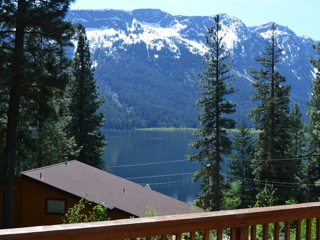 View Of Lake Wenatchee And Nason Ridge From Large Wrap Around Deck.