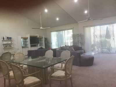 Living room and Dining Area - 16' ceilings Dimmable LED lights, huge fan/light