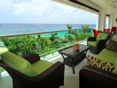 Panoramic ocean view from our 400 sq ft balcony