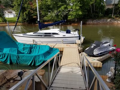 Example of dock with a 26 and 23ft boats and waverunner