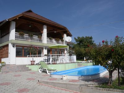 Photo for Holiday apartment with pool and panorama of Lake Balaton