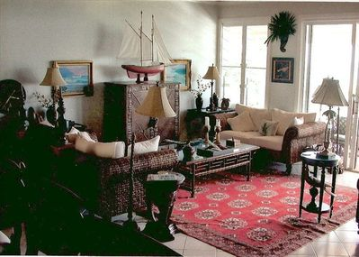 Great & Living Room, West Indian Furnishings, Large Flat Screen TV/Cabinet