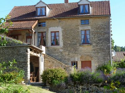 Photo for Burgundy: detached 2 bedroom stone cottage in village, spectacular views