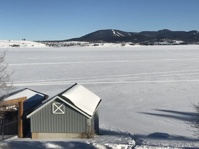 View your ice-fishing spot or Discovery Basin right out the front windows!