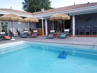 Photo for Villa CARAÏBE, 150 m2, heated pool 28 °, SPA, 5 mn Cap Ferret and Andernos