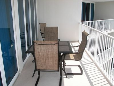 Table with Seating for Six on Beach front Balcony