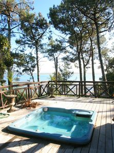 Photo for Stunning Wooden Villa with Panoramic Sea View, Jacuzzi, 50m from beach