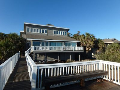 View of home from the deck of the private beach access