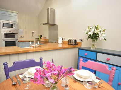 Colourful open-plan dining area