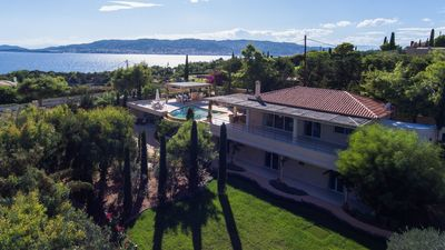 Drone view with Spetses Island in the background