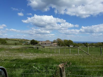 Photo for Converted Stone Barn set in meadows with sea views near coast path near Swanage