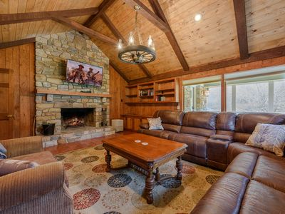 Photo for 9BR Upscale Mountain Lodge, Views, Hot Tub, Fire Pit, Theatre Room, Game Room, Boone, Blowing Rock