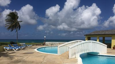 Swimming pool over looking the Caribbean Sea
