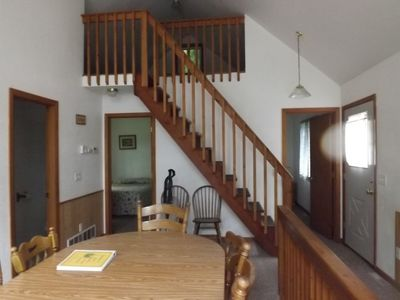 Stairs to loft area, no furniture