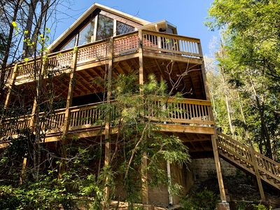 Photo for NEW: The Fox's Den Luxury Log Cabin with Smoky Mountain views in Gatlinburg, TN