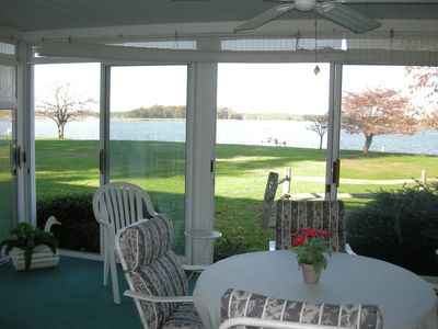 Great views of the water from the sunroom.