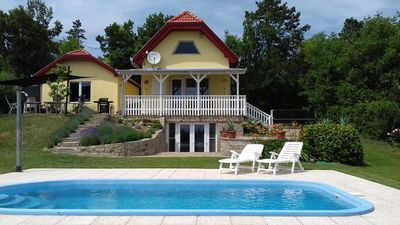 Photo for Private holiday house + pool + wonderful view of Lake Balaton, quiet environment