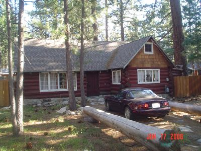 Photo for Tahoe romantic 'real'  Log Cabin in Bijou Pines with enclosed hot tub