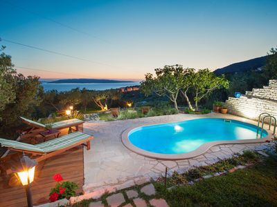Photo for Cute house with pool for 3 people, teracce with sea view, garden