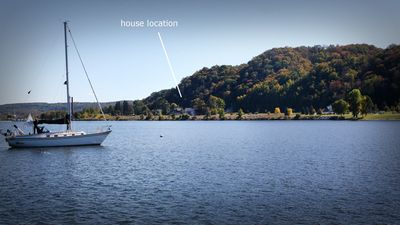 View of the house location facing south from Betsie Bay