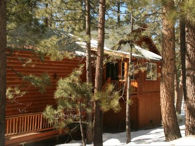Photo for Beautiful Lake Adjacent Log Home-Secluded Wooded Setting