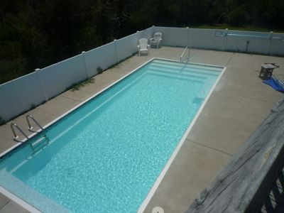 Pool with security fence.